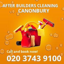 N1 post builders clean near Canonbury
