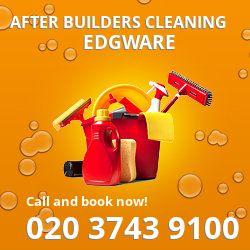 HA8 post builders clean near Edgware