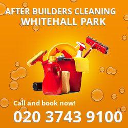 N19 post builders clean near Whitehall Park