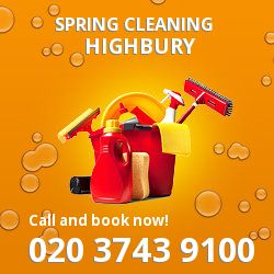 N5 seasonal cleaners in Highbury